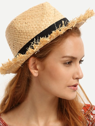 Apricot Fringe Roll-up Brim Hat