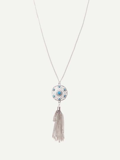 Silver Tassel Pendant Chain Necklace