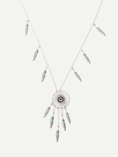 Silver Feather-shaped Fringe Pendant Necklace