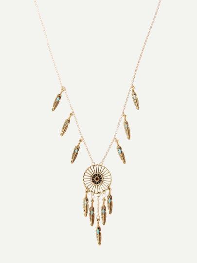 Golden Feather-shaped Fringe Pendant Necklace