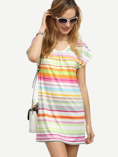 Multicolor Striped Tee Dress