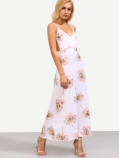 Pink Flower Print Backless Cami Maxi Dress