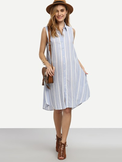 Blue Vertical Striped Button Front Shirt Dress