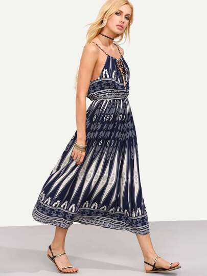Navy Geometric Print Braided Drawstring Neck Dress
