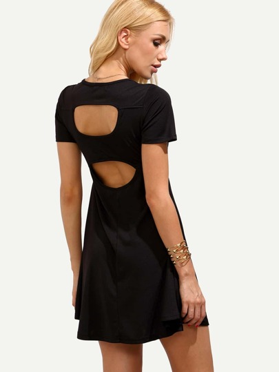 Black V Neck Cutout Skater Dress