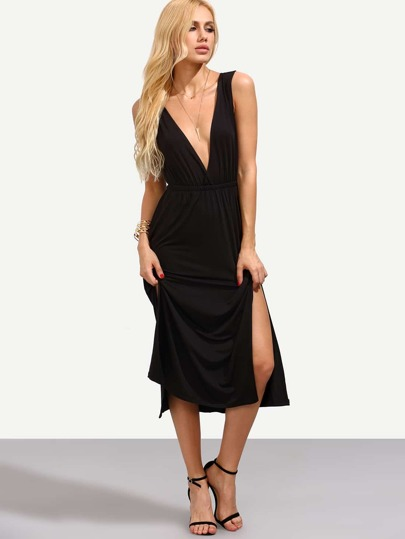 Black Double V Neck Slit Dress
