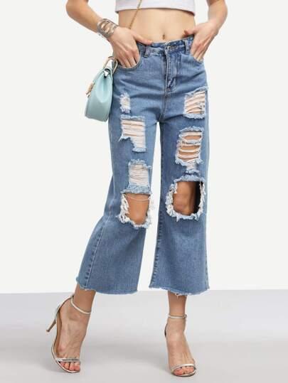 Blue Distressed Raw Hem Jeans