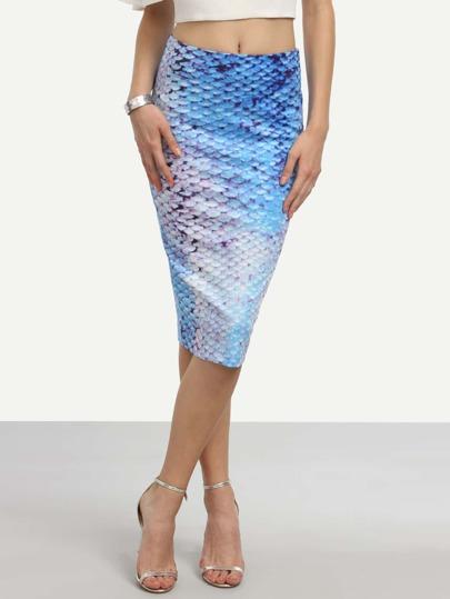Blue Fish Scales Print Pencil Skirt