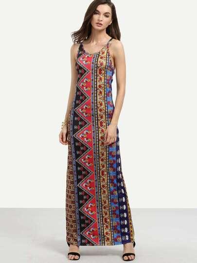 Multicolor Tribal Print Crisscross Cami Dress
