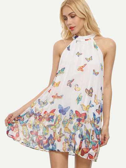 Multicolor Butterflies Print Sleeveless Shift Dress