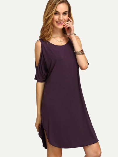 Dark Purple Cold Shoulder Shift Dress