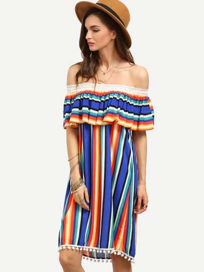 Multicolor Striped Off The Shoulder Ruffle Shift Dress