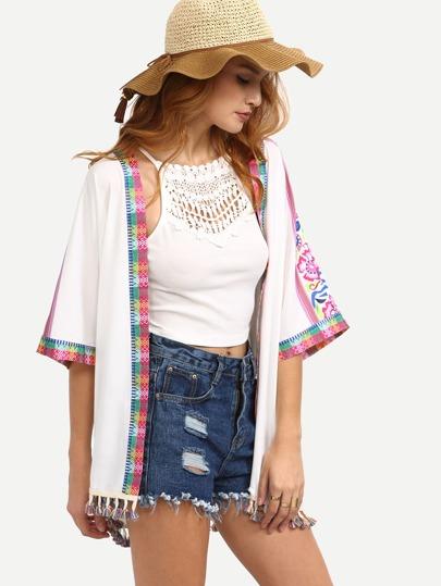 Multicolor Print Tassel Half Sleeve Kimono