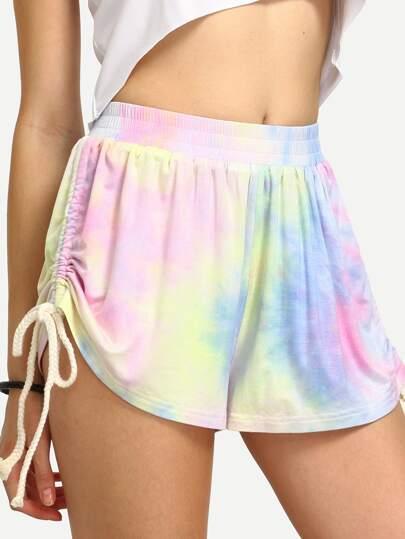Multicolor Tie-dye Print Casual Tie Shorts