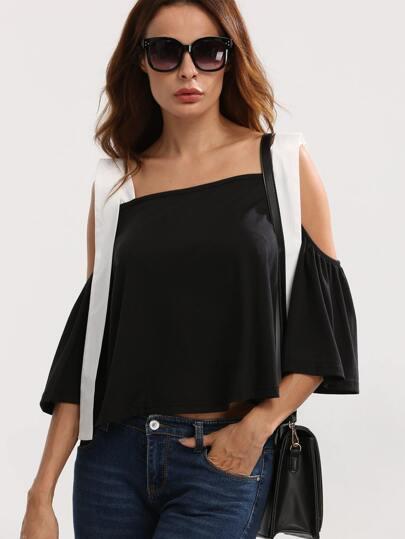Black Cold Shoulder Backless Blouse