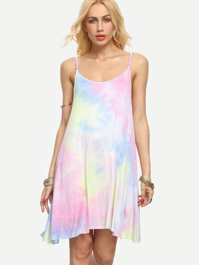 Multicolor Tie-dye Spaghetti Strap Asymmetrical Dress