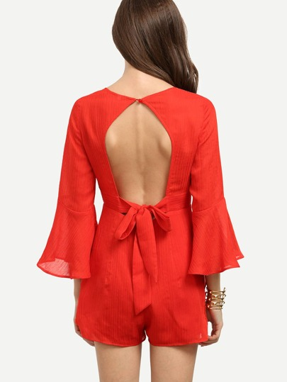 Red Bell Sleeve Cutout Tie Back Jumpsuit