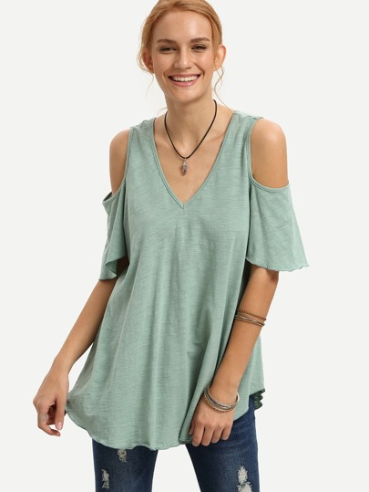 Green V Neck Cold Shoulder T-shirt