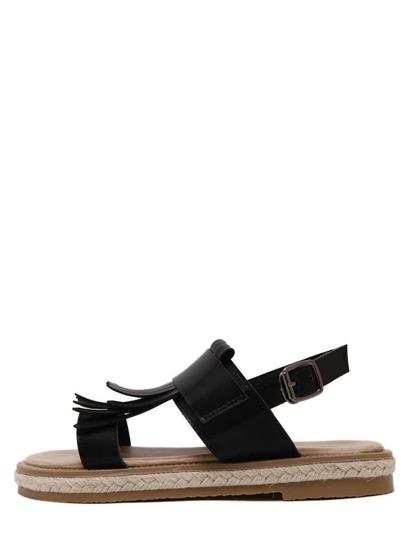 Sandales décontracté bout ouvert avec frange et boucle - noir