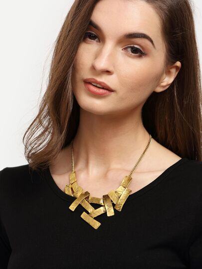 Golden Asymmetrical Geometric Pendant Necklace