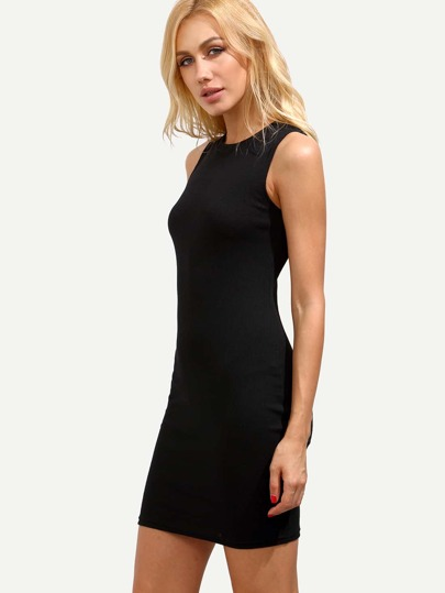 Black Sleeveless Ribbed Sheath Dress