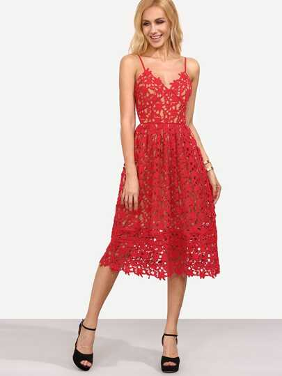 Red Hollow Out Fit & Flare Lace Cami Dress