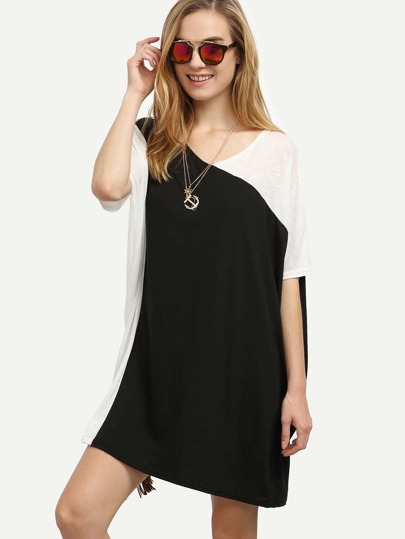 Contrast V Neck Oversized Dress
