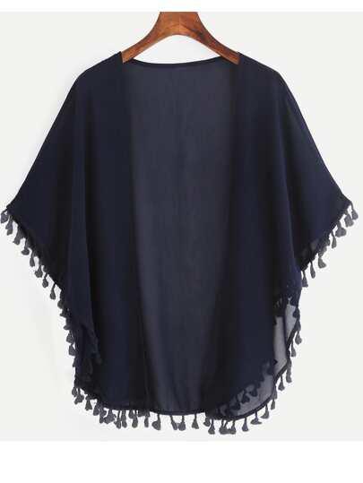 Kimono flecos abierto gasa -marino