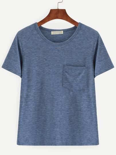 Blue Slub T-shirt With Pocket