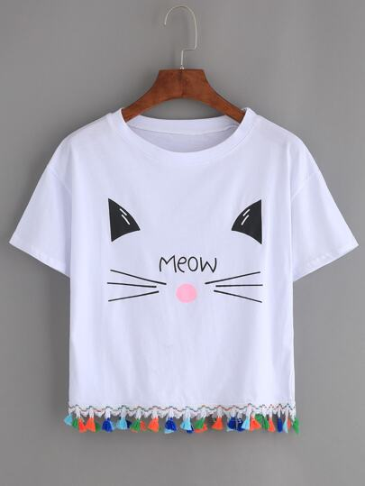Cat Print Tassel Trim Tee