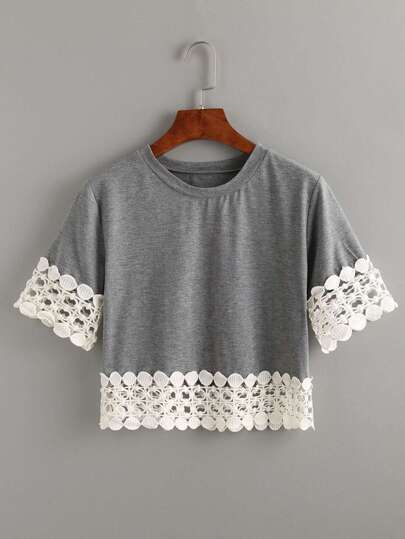 Camiseta crochet crop -gris