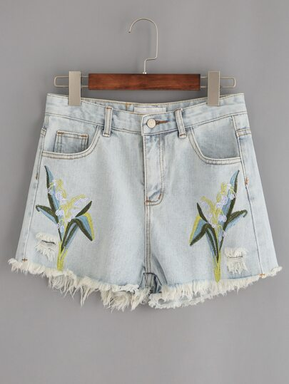 Pale Blue Raw Hem Embroidered Denim Shorts