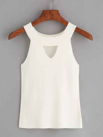 White Halter Neck Cut Out Sweater Tank Top