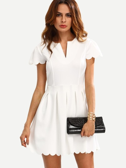 White V Cut Scalloped A-Line Dress