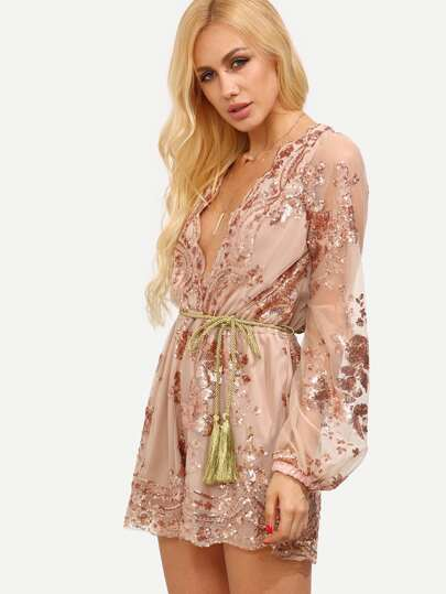 Plunge Neckline Mesh Sleeve Sequined Romper With Self Tie