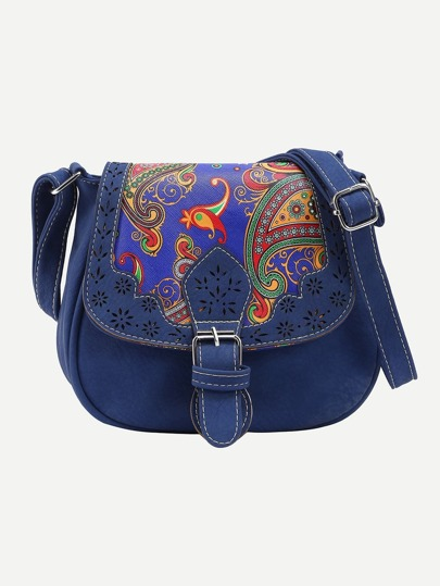 Blue Laser Cut Paisley Print Saddle Bag