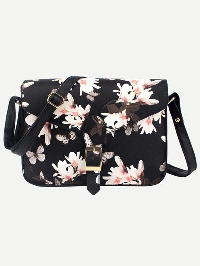 Flower Print Buckle Flap Shoulder Bag