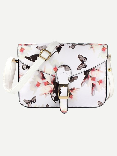 White Flower Print Buckle Strap Flap Bag