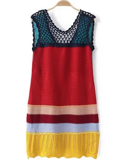 Multicolor Net Crochet Knit Dress