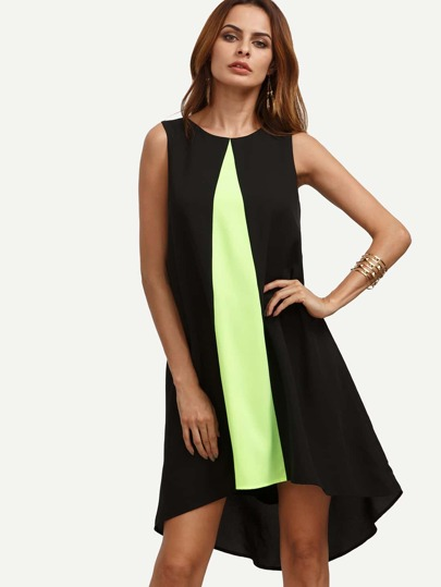 Colorblock Sleeveless High-low Dress