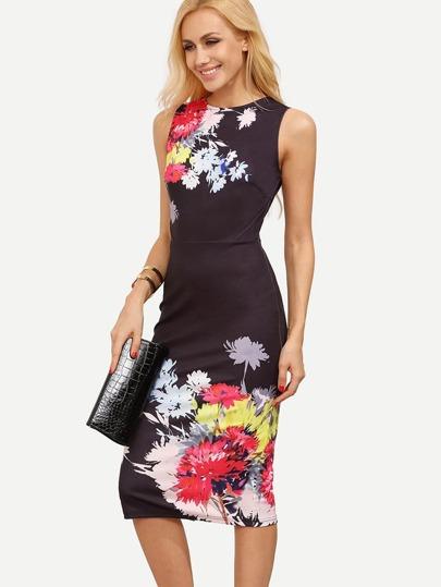 Vestido floral espalda V sin manga entallado -multicolor