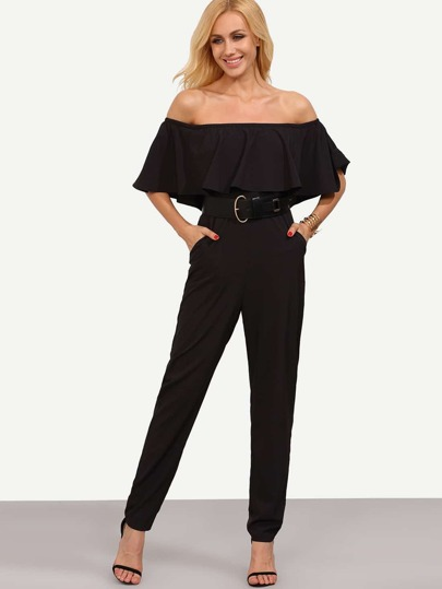 Black Off The Shoulder Pocket Ruffle Jumpsuit