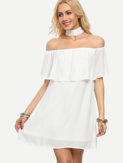 White Ruffle Off The Shoulder Dress