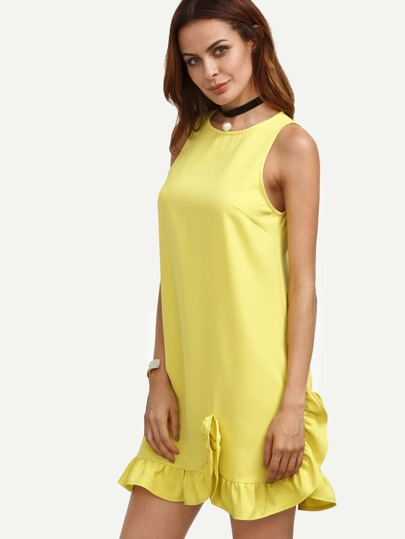 Yellow Ruffle Hem Sleeveless Shift Dress
