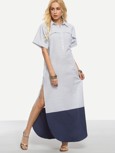 Button Curved Hem Full Length Shirt Dress