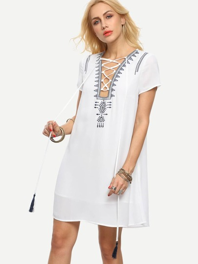 White Lace-up Short Sleeve Shift Dress