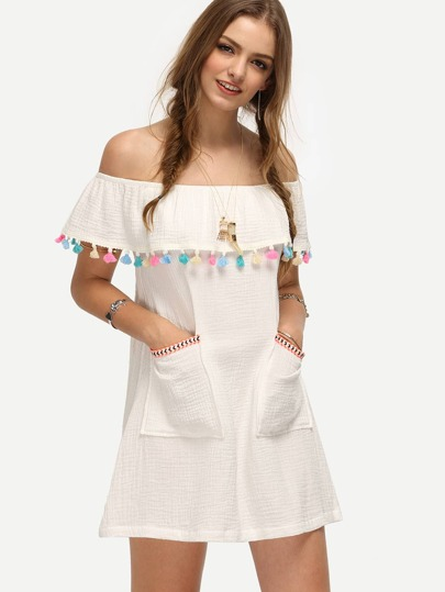 White Off The Shoulder Pocket Tassel Shift Dress