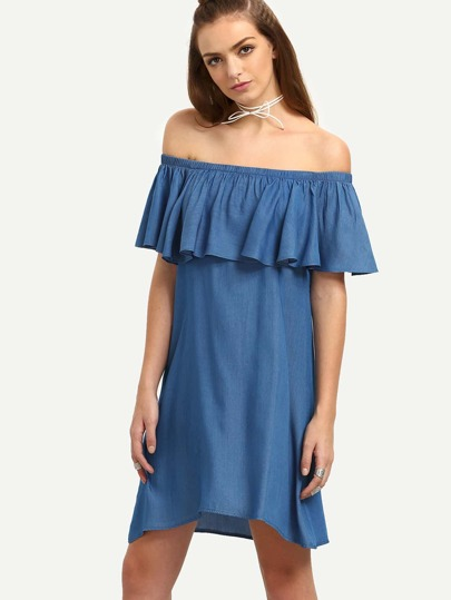 Blue Ruffle Off The Shoulder Asymmetrical Shift Dress