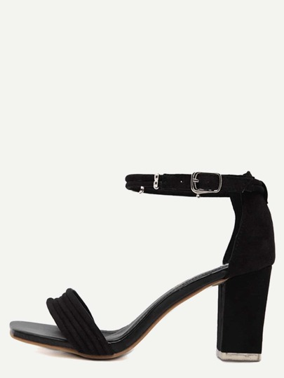 Black Peep Toe Ankle Strap Chunky Pumps