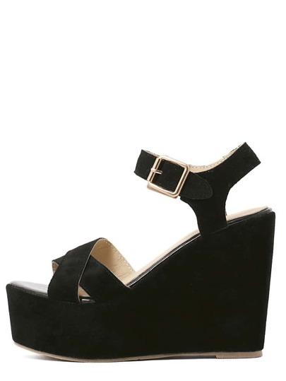 Sandales semelle compensée avec boucle - Noir